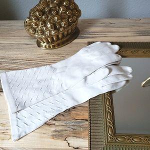 Vintage Midcentury White Evening Gloves